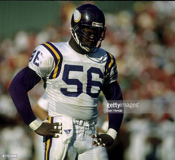 Minnesota Vikings defensive end Chris Doleman during a 2421 loss to the San Francisco 49ers on October 30 at Candlestick Park in San Francisco...