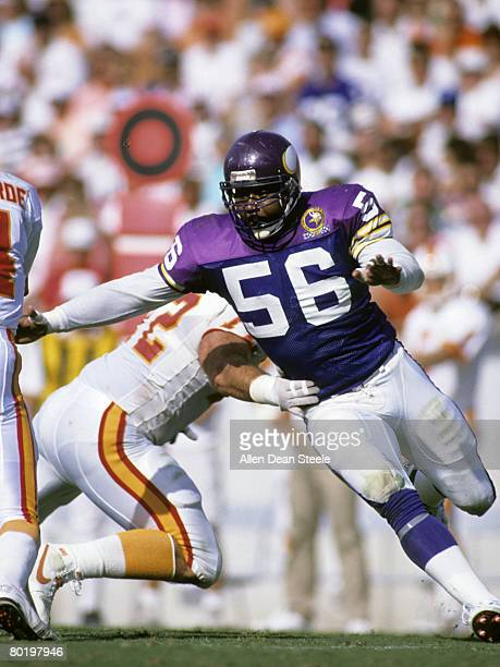 Minnesota Vikings defensive end Chris Doleman in action during a 2410 win over the Tampa Bay Buccaneers on November 12 1989 at Tampa Stadium in Tampa...