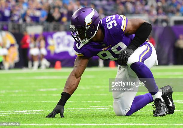 Minnesota Vikings defensive end Danielle Hunter lines up during a NFL game between the Minnesota Vikings and Detroit Lions on October 1 2017 at US...