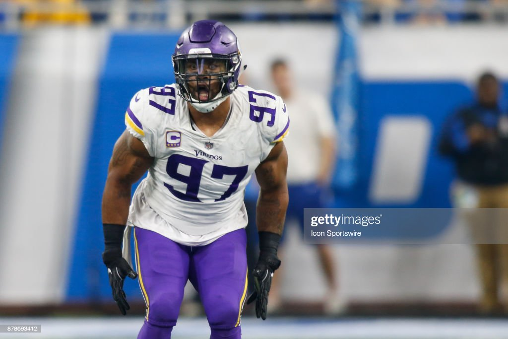 Minnesota Vikings defensive end Everson Griffen (97) celebrates a defensive play during game action between the Minnesota Vikings and the Detroit Lions on November 23, 2017 at Ford Field in Detroit, Michigan.