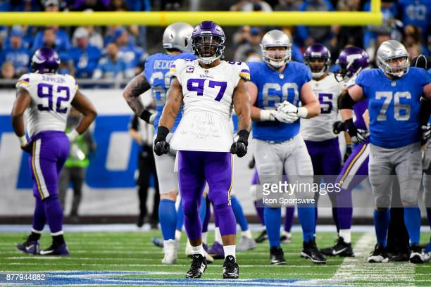 Minnesota Vikings defensive end Everson Griffen celebrates his sack and shows the message on his tshirt 'I just had a baby boy what should we name...