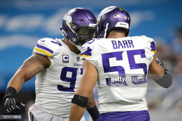 Minnesota Vikings defensive end Everson Griffen celebrates with outside linebacker Anthony Barr after sacking Detroit Lions quarterback Matthew...