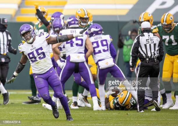 Minnesota Vikings defensive end Ifeadi Odenigbo celebrated stopping Green Bay Packers running back Jamaal Williams on fourth down in the second...