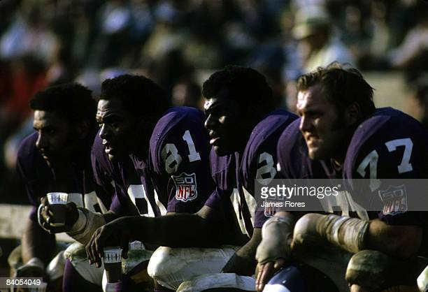 Minnesota Vikings defensive linemen Gary Larsen Hall of Famers Alan Page and Carl Eller and Jim Marshall during a 2013 victory over the Los Angeles...