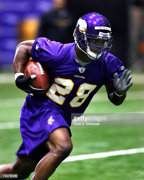 Minnesota Vikings draft pick Adrian Peterson practices at rookie camp on May 4 2007 at Olympics Place in Eden Prairie Minnesota