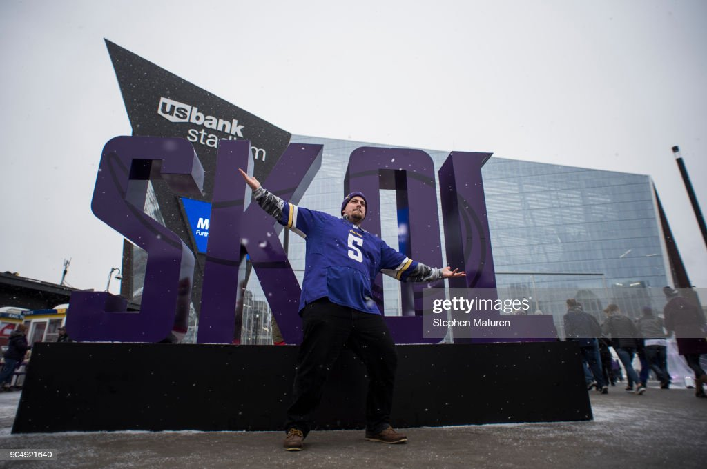 Minnesota Vikings fan Cody Stevens, of Duluth, Minnesota, poses outside of U.S. Bank Stadium before the NFC Divisional playoff game between the Minnesota Vikings and New Orleans Saints on January 14, 2018 in Minneapolis, Minnesota.