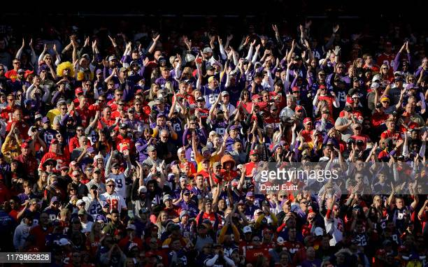 Minnesota Vikings fans clap in unison during the fourth quarter in the game against the Kansas City Chiefs at Arrowhead Stadium on November 3 2019 in...