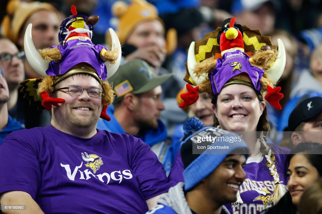 Minnesota Vikings fans wear Viking helmets adorned with turkeys during game action between the Minnesota Vikings and the Detroit Lions on November 23, 2017 at Ford Field in Detroit, Michigan. Minnesota defeated Detroit 30-23.