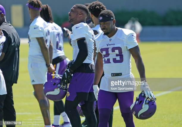 Minnesota Vikings free safety Xavier Woods takes a breather during Vikings Minicamp on June 15, 2021 at Twin Cities Orthopedics Performance Center in...
