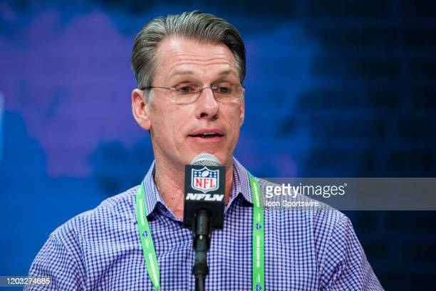 Minnesota Vikings general manager Rick Spielman answers questions from the media during the NFL Scouting Combine on February 25 2020 at the Indiana...