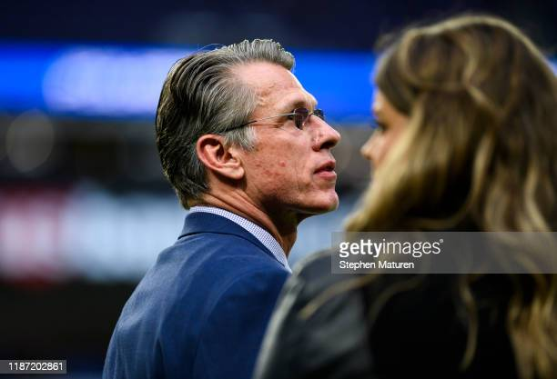 Minnesota Vikings general manager Rick Spielman on the sidelines before the game against the Detroit Lions at US Bank Stadium on December 8 2019 in...