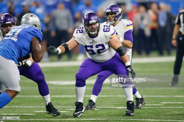 Minnesota Vikings guard Nick Easton blocks during game action between the Minnesota Vikings and the Detroit Lions on November 23 2017 at Ford Field...