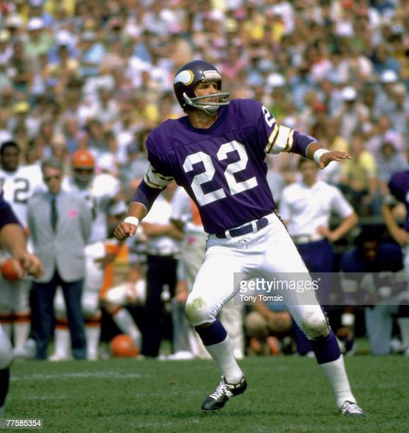 Minnesota Vikings Hall of Fame safety Paul Krause drops back in pass coverage during a 2317 win over the Cincinnati Bengals on Augst 22 1976 at...