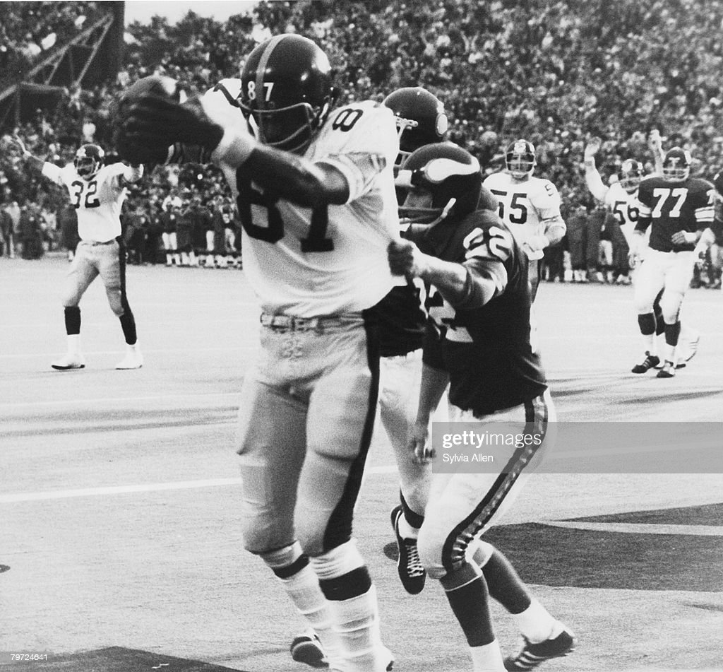 Minnesota Vikings Hall of Fame safety Paul Krause is beaten by Pittsburgh Steelers tight end Larry Brown as he makes a touchdown catch in a 16-6 loss to the Pittsburgh Steelers in Super Bowl IX on January 12, 1975 at Tulane Stadium in New Orleans, Loiusiana.
