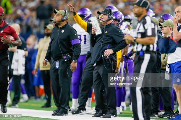 Minnesota Vikings Head Coach Mike Zimmer calls a play during the game between the Minnesota Vikings and Dallas Cowboys on November 10 2019 at ATT...
