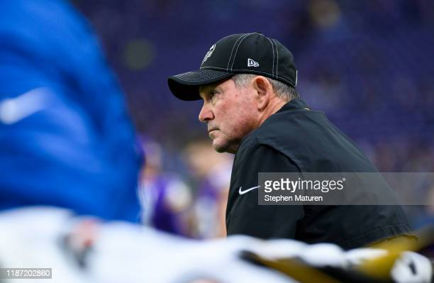 Minnesota Vikings head coach Mike Zimmer looks on from the bench before the game agains the Detroit Lions at US Bank Stadium on December 8 2019 in...