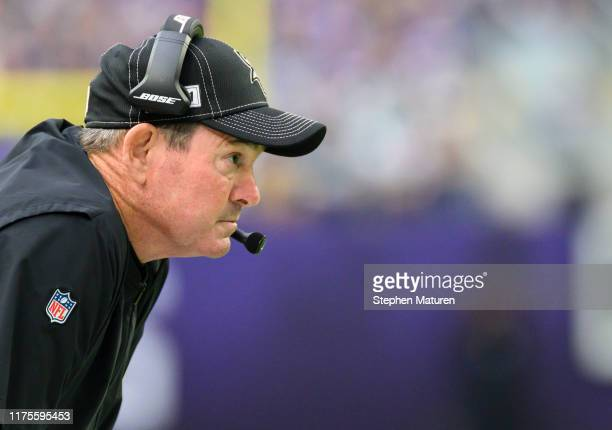 Minnesota Vikings head coach Mike Zimmer looks on from the sideline in the first quarter of the game agains the Philadelphia Eagles at US Bank...