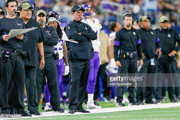 Minnesota Vikings Head Coach Mike Zimmer looks on late in the game between the Minnesota Vikings and Dallas Cowboys on November 10 2019 at ATT...