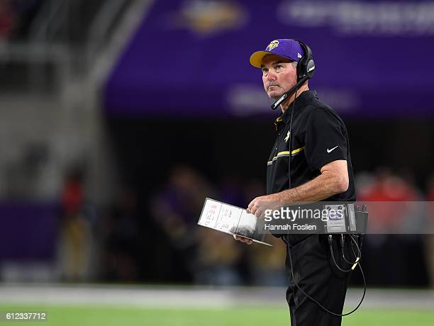 Minnesota Vikings head coach Mike Zimmer on field during the first half of the game against the New York Giants on October 3 2016 at US Bank Stadium...