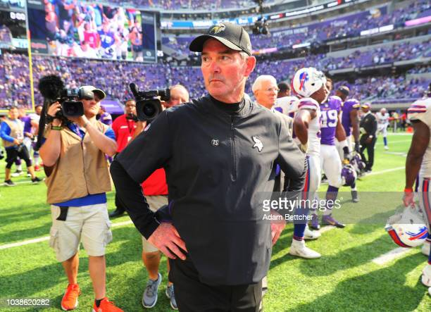 Minnesota Vikings head coach Mike Zimmer on the field after the game against the Buffalo Bills at US Bank Stadium on September 23 2018 in Minneapolis...