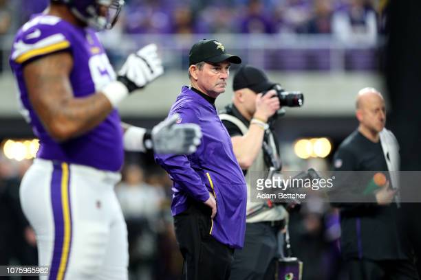 Minnesota Vikings head coach Mike Zimmer on the field before the game against the Chicago Bears at US Bank Stadium on December 30 2018 in Minneapolis...