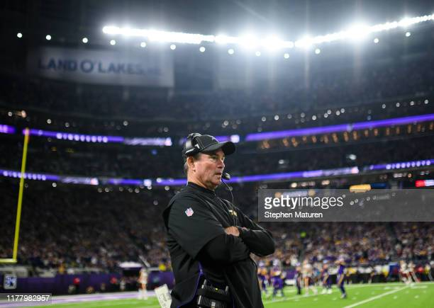 Minnesota Vikings head coach Mike Zimmer on the sideline in the second quarter of the game against the Washington Redskins at US Bank Stadium on...