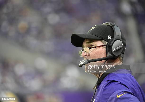Minnesota Vikings head coach Mike Zimmer on the sidelines during the second half of the game against the Indianapolis Colts on December 18 2016 at US...
