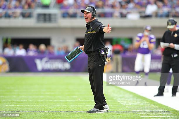 Minnesota Vikings head coach Mike Zimmer yells onto the field during the second half of the game on November 6 2016 at US Bank Stadium in Minneapolis...