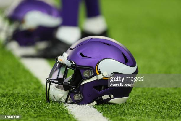 Minnesota Vikings helmet sits on the field during the pregame warm up against the Oakland Raiders at U.S. Bank Stadium on September 22, 2019 in...