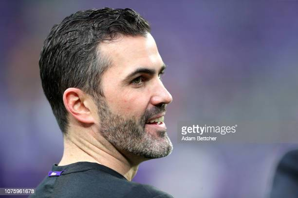 Minnesota Vikings interim offensive coordinator Kevin Stefanski on the field before the game against the Chicago Bears at US Bank Stadium on December...