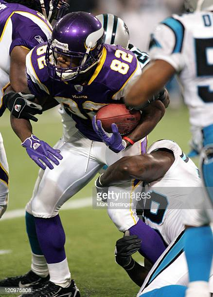 Minnesota Vikings kick returner Troy Williamson is brought down during a game against the Carolina Panthers on September 17 2006 in the Metrodome in...