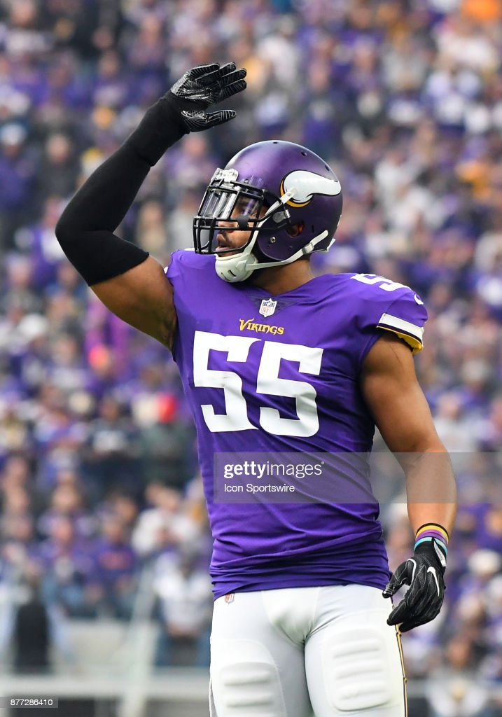 ea8ba78a Minnesota Vikings linebacker Anthony Barr amps up the crowd during a ...