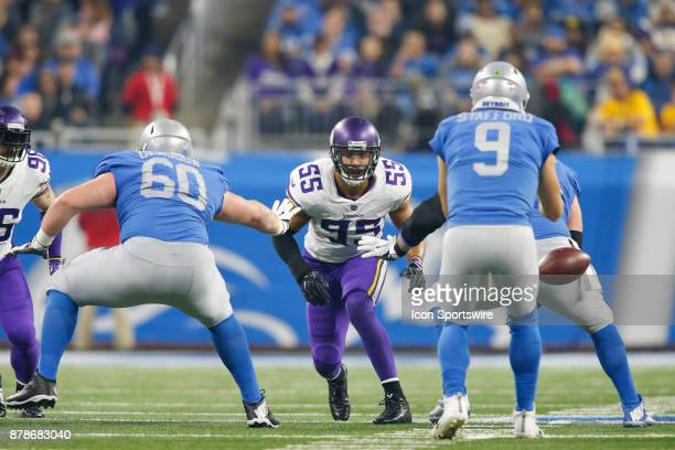 Minnesota Vikings linebacker Anthony Barr plays defense during game action between the Minnesota Vikings and the Detroit Lions on November 23 2017 at...