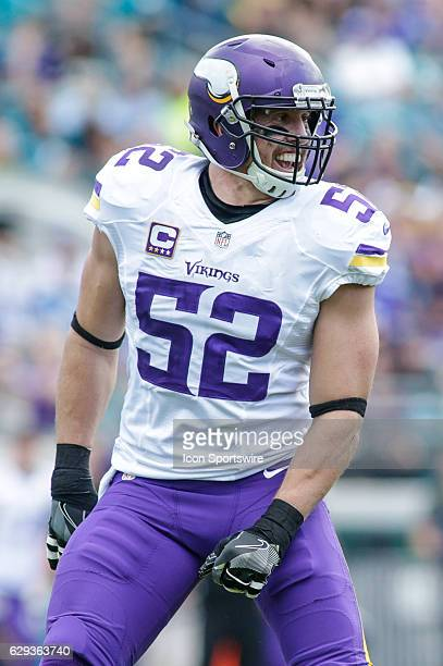Minnesota Vikings Linebacker Chad Greenway celebrates a play during the NFL game between the Minnesota Vikings and the Jacksonville Jaguars on...