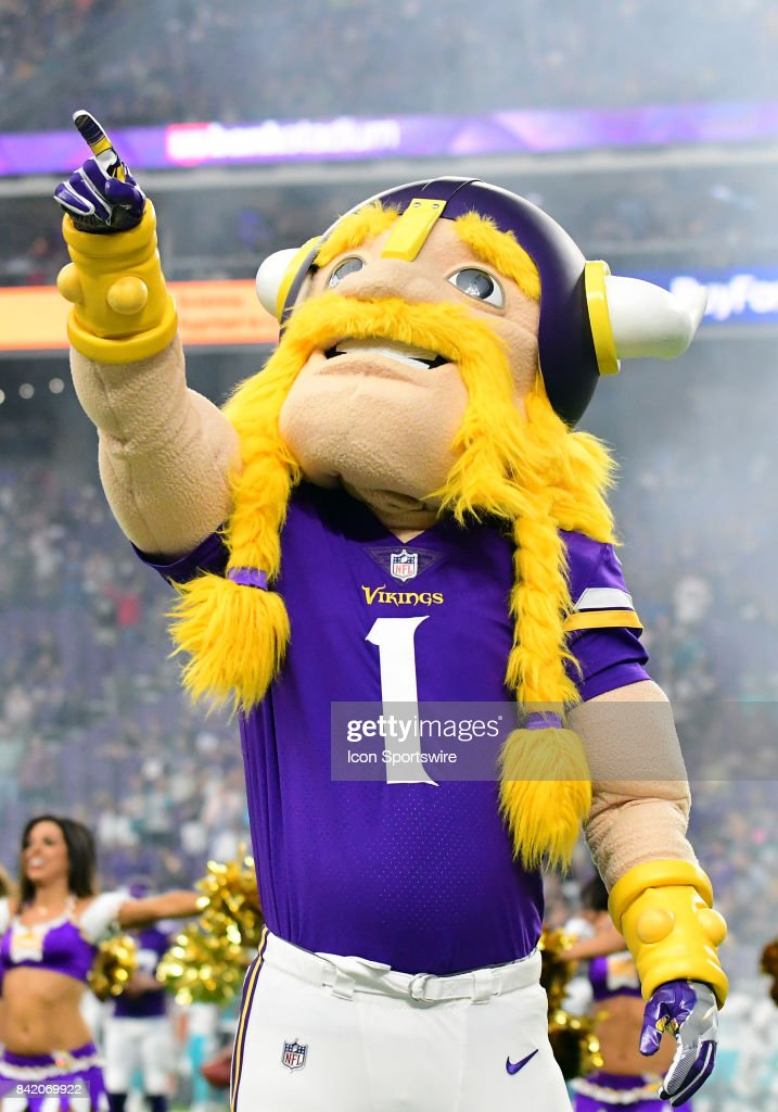 Minnesota Vikings mascot Viktor the Viking amps up the crowd during a NFL preseason game between the Minnesota Vikings and Miami Dolphins on August 31, 2017 at U.S. Bank Stadium in Minneapolis, MN. The Dolphins defeated the Vikings 30-9.