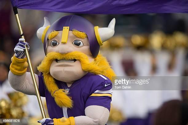 Minnesota Vikings mascot Viktor the Viking runs onto the field prior to an NFL game against the Green Bay Packers at TCF Bank Stadium November 8 2015...