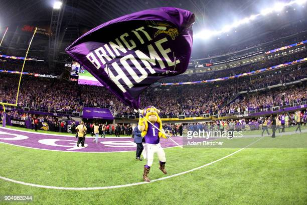 Minnesota Vikings mascot Viktor waves a flag reading Bring it home after the Minnesota Vikings defeated the New Orleans Saints in the NFC Divisional...