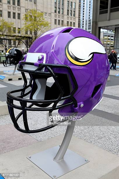 Minnesota Vikings NFL football helmet is on display in Pioneer Court to commemorate the NFL Draft 2015 in Chicago on April 30 2015 in Chicago Illinois