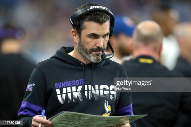 Minnesota Vikings offensive coordinator coach Kevin Stefanski is seen during the second half of an NFL football game against the Detroit Lions in...