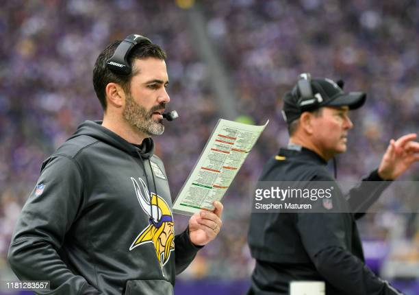 Minnesota Vikings offensive coordinator Kevin Stefanski and head coach Mike Zimmer on the sidelines in the first quarter of the game against the...