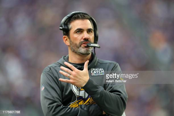 Minnesota Vikings Offensive Coordinator Kevin Stefanski calls plays in the fourth quarter against the Philadelphia Eagles at US Bank Stadium on...