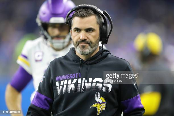 Minnesota Vikings offensive coordinator Kevin Stefanski looks on during a game against the Detroit Lions at Ford Field on October 20 2019 in Detroit...