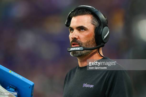 Minnesota Vikings offensive coordinator Kevin Stefanski looks on in the first quarter against the Seattle Seahawks at US Bank Stadium on August 18...