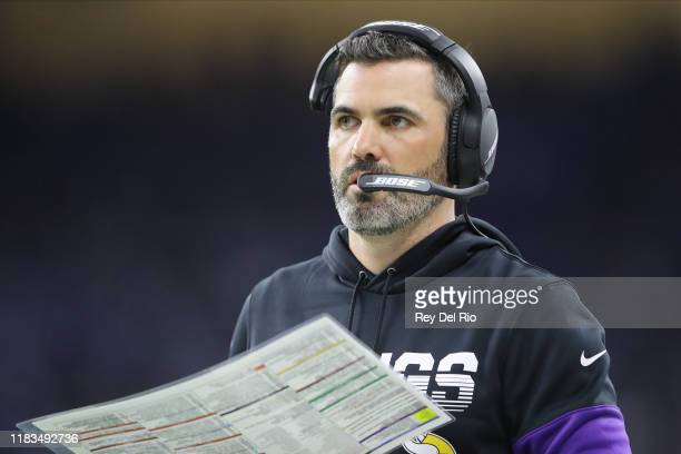 Minnesota Vikings offensive coordinator Kevin Stefanski looks on in the fourth quarter during a game against the Detroit Lions at Ford Field on...