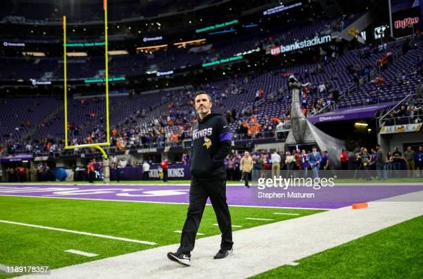 Minnesota Vikings offensive coordinator Kevin Stefanski on the field before the game against the Denver Broncos at US Bank Stadium on November 17...