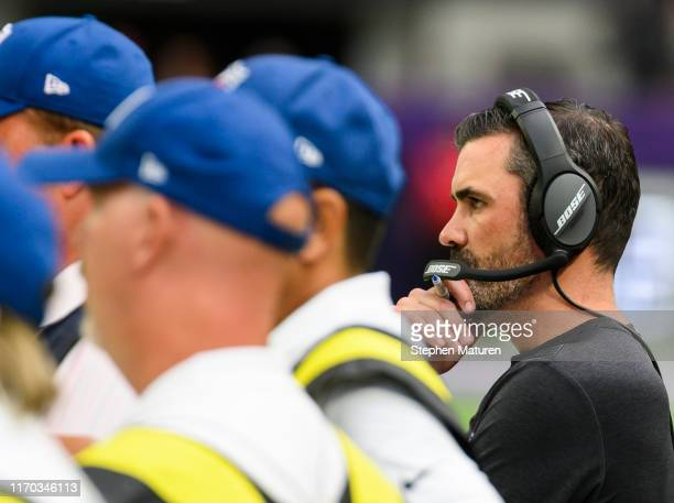 Minnesota Vikings offensive coordinator Kevin Stefanski on the sidelines in the fourth quarter of the preseason game against the Arizona Cardinals at...