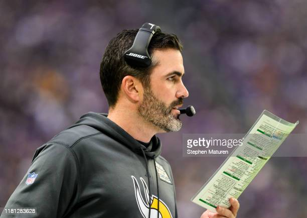 Minnesota Vikings offensive coordinator Kevin Stefanski on the sidelines in the first quarter of the game against the Philadelphia Eagles at US Bank...
