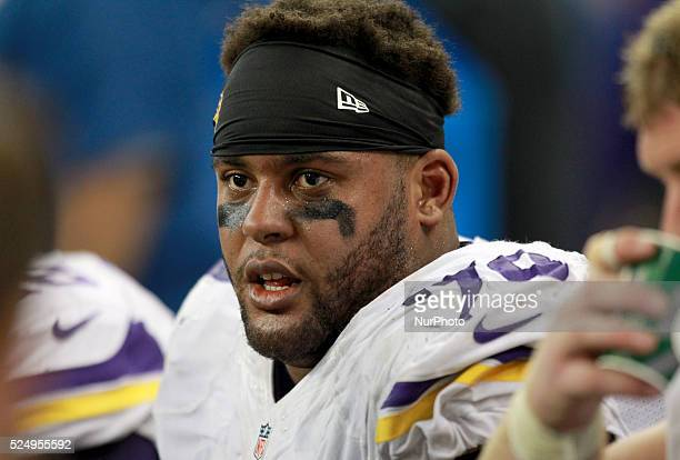 Minnesota Vikings offensive guard Michael Harris sits in the bench during the second half of an NFL football game against the Detroit Lions in...