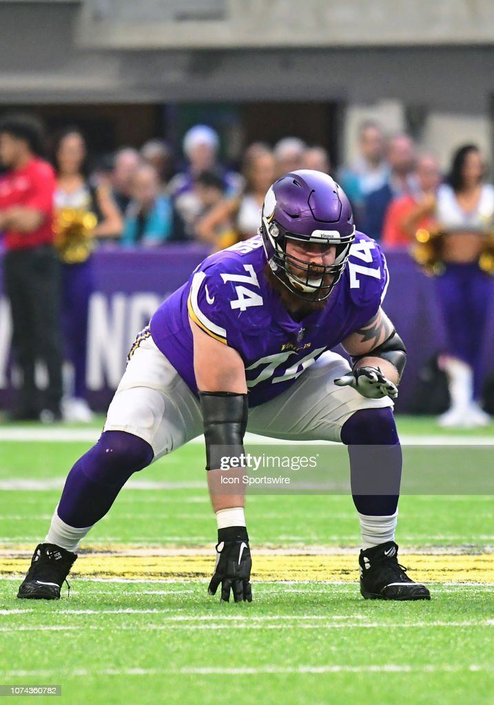 a21067a1d Minnesota Vikings Offensive Guard Mike Remmers lines up during an ...