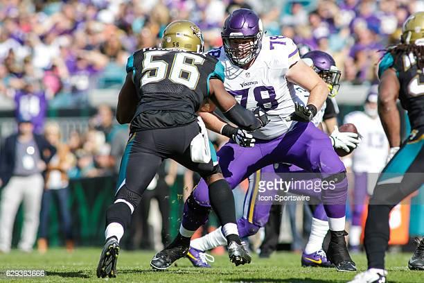 Minnesota Vikings Offensive Tackle Jeremiah Sirles guards Jacksonville Jaguars Defensive End Dante Fowler Jr during the NFL game between the...